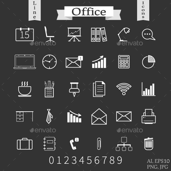 Office and Business Line Icons - Business Conceptual