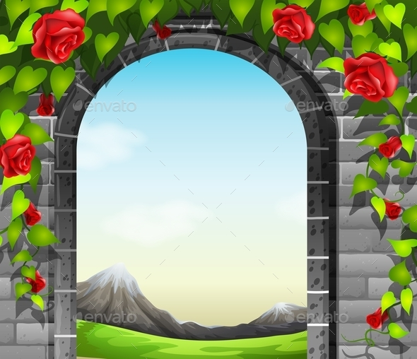 Stonewall with Roses - Landscapes Nature