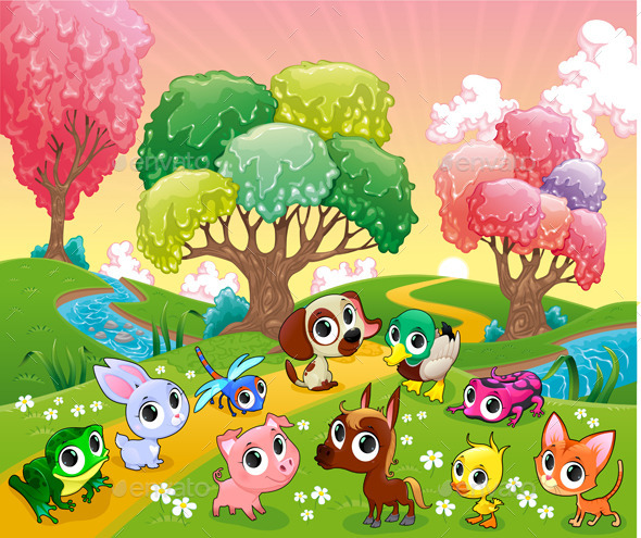 Animals in the Magic Woods - Animals Characters