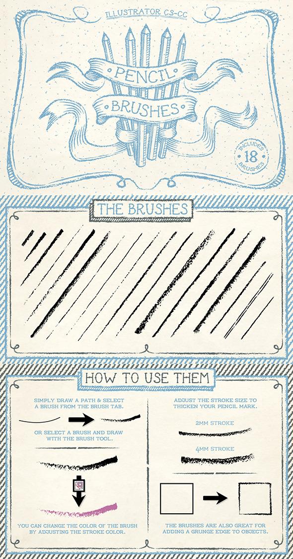 Pencil Brushes - Brushes Illustrator