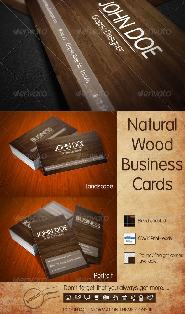 Nature Wood Business Card - Real Objects Business Cards