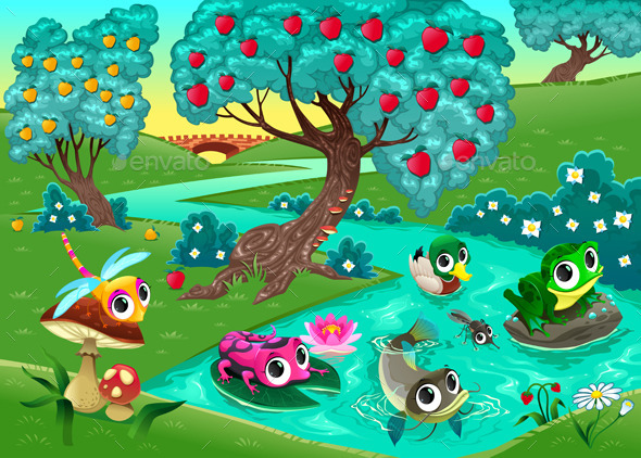 Animals on a River in the Woods - Animals Characters