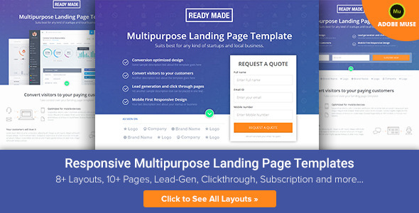 ReadyMade - Muse Multiuse Landing Page Template - Landing Muse Templates