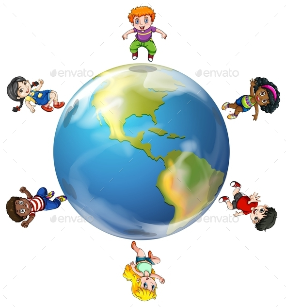 Group of People Around the Globe - People Characters