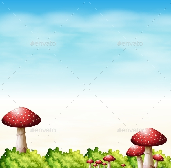 Garden with Red Mushrooms - Landscapes Nature