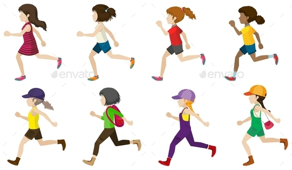 Faceless Kids Jogging - People Characters