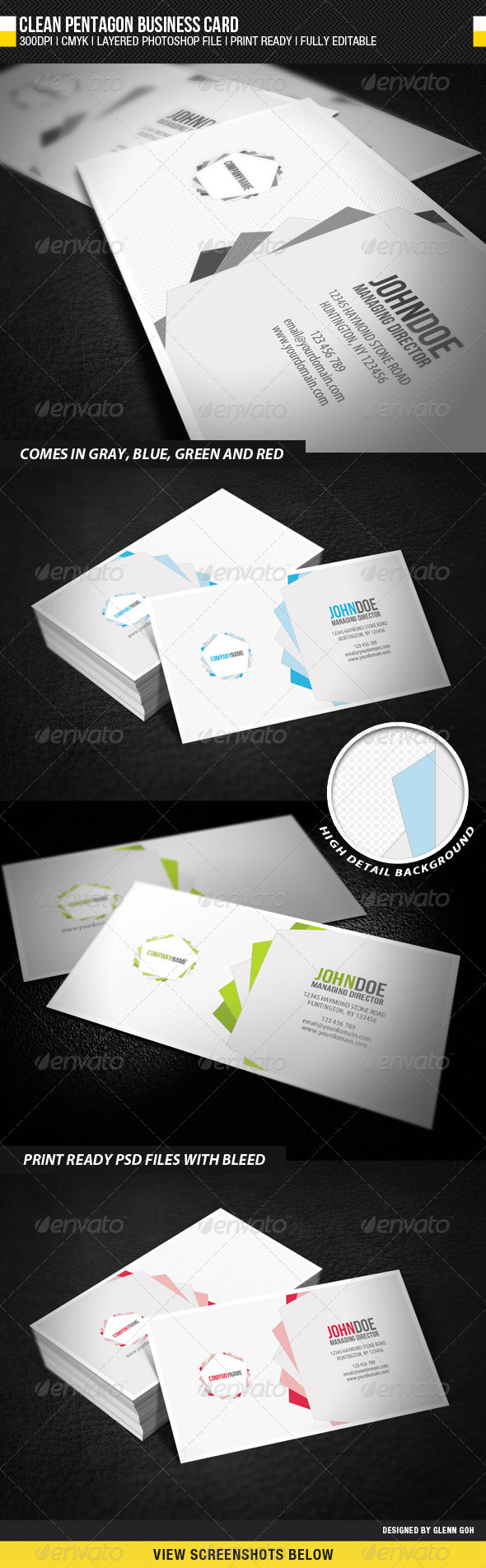 Clean Pentagon Business Card - Creative Business Cards