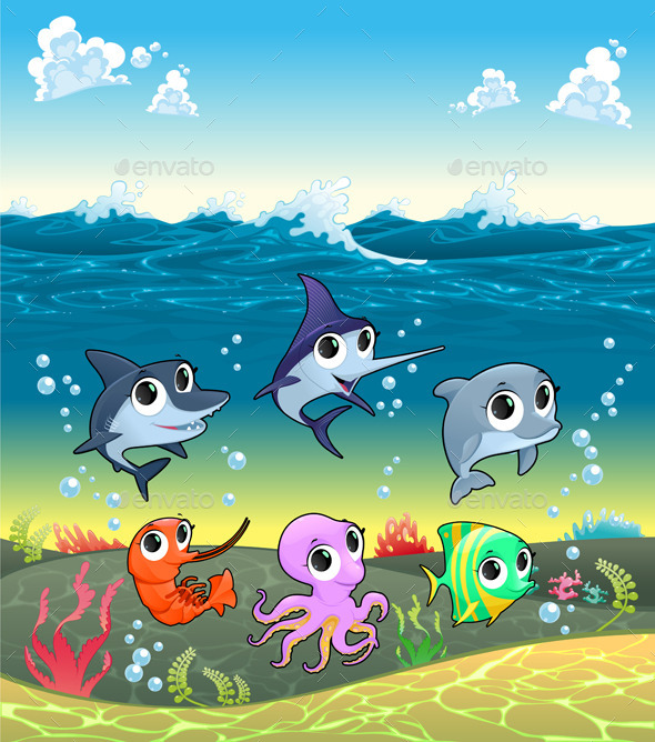 Marine Aanimals on the Ocean Floor - Animals Characters