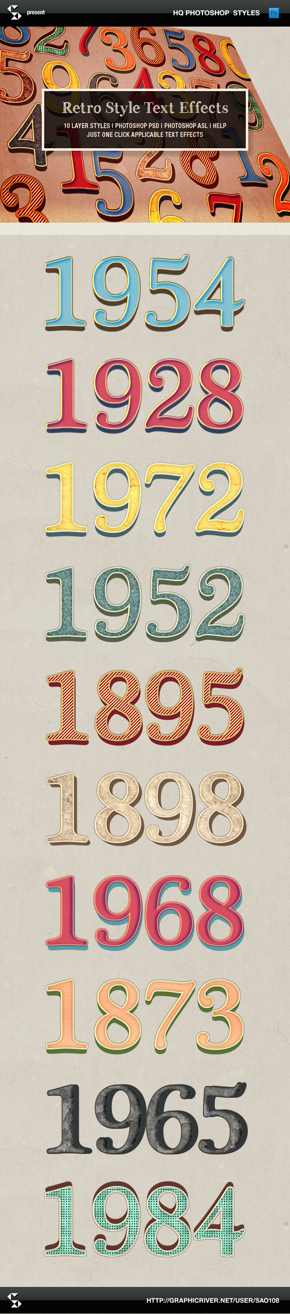 Retro Style Text Effects - Text Effects Styles