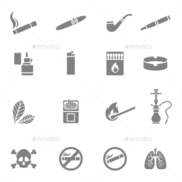 Smoking Silhouette Icons Set - Objects Vectors
