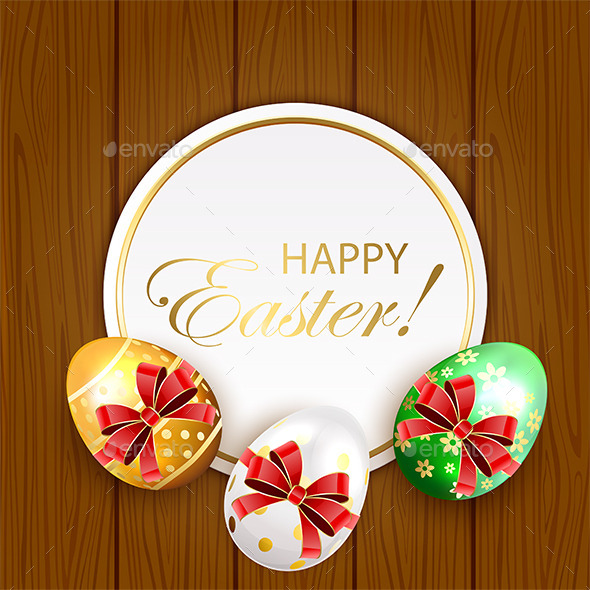 Easter Eggs with Bow on Wooden Background - Backgrounds Decorative
