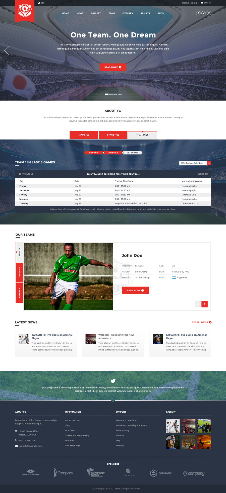 Fc Football Club Template Soccer Html By Uouapps
