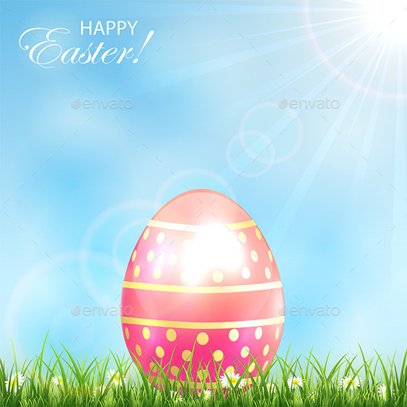 Pink Easter Egg in the Grass - Miscellaneous Seasons/Holidays