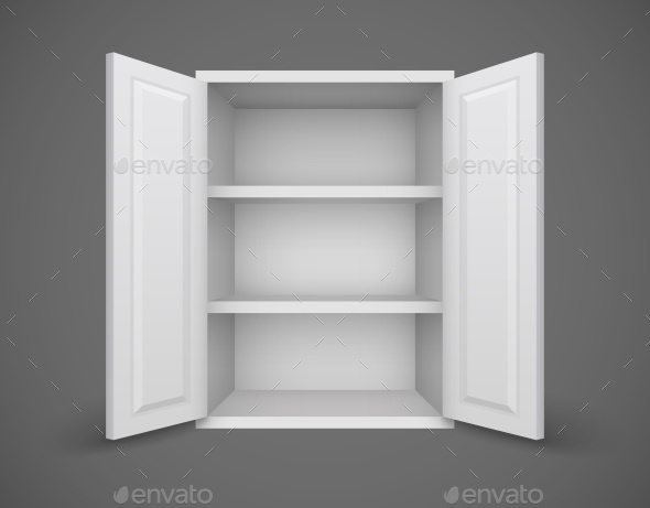 Empty Box with Open Doors and Bookshelves - Man-made Objects Objects