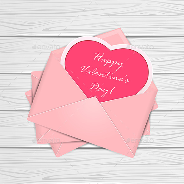 Valentines Congratulations on Wooden Background - Valentines Seasons/Holidays