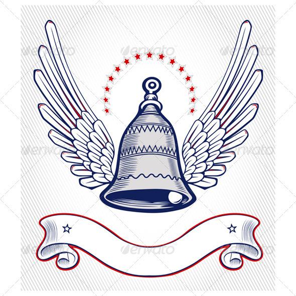 Xmass Bell Wing Emblem - Decorative Symbols Decorative