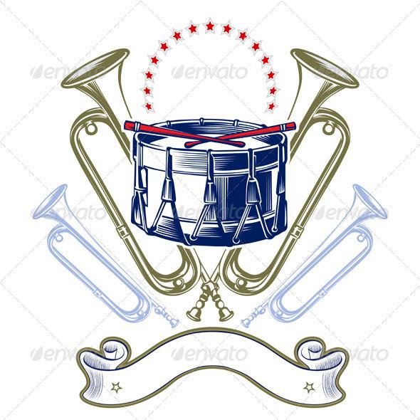 Music Jazz Band Emblem In Retro Engraving Style - Media Technology