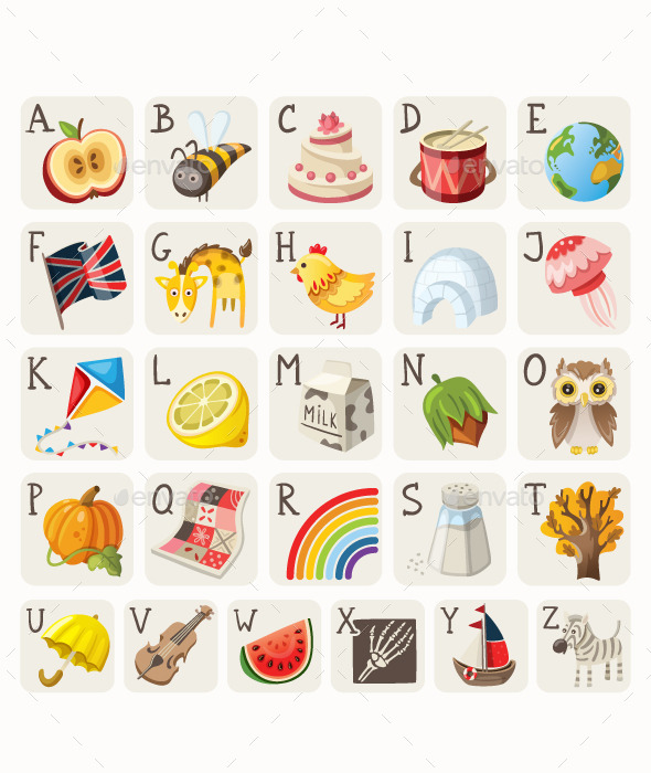 Alphabet for Children - Objects Vectors