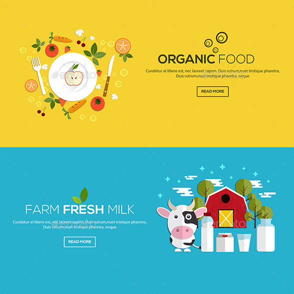Flat Designed Banners - Organic Objects Objects
