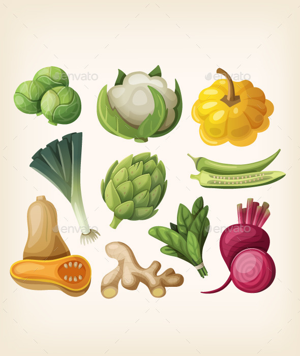 Set of Exotic Vegetables.  - Food Objects