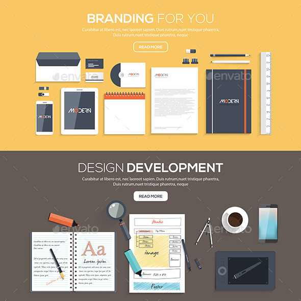 Flat Designed Banners - Backgrounds Business
