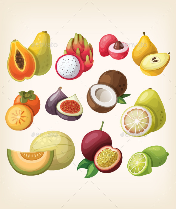 Set of Exotic Fruit.  - Organic Objects Objects