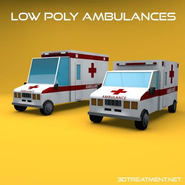 Low Poly Ambulances - 3DOcean Item for Sale