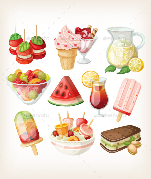 Set of Cold Sweet Summer Food and Snacks - Food Objects