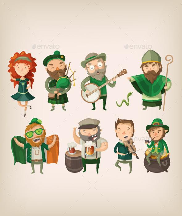 Irish People in Pub. - People Characters