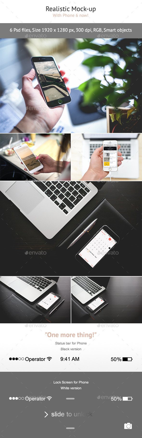 6 Realistic Phone 6 Mock-up - Displays Product Mock-Ups