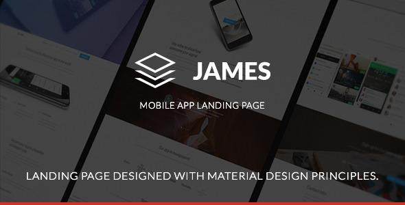 James – Material Design Mobile App Landing Page