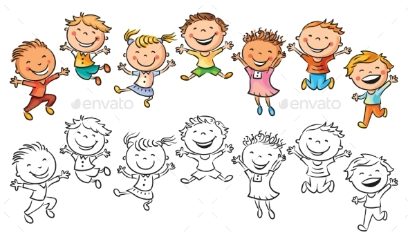 Happy Kids Laughing and Jumping with Joy - People Characters