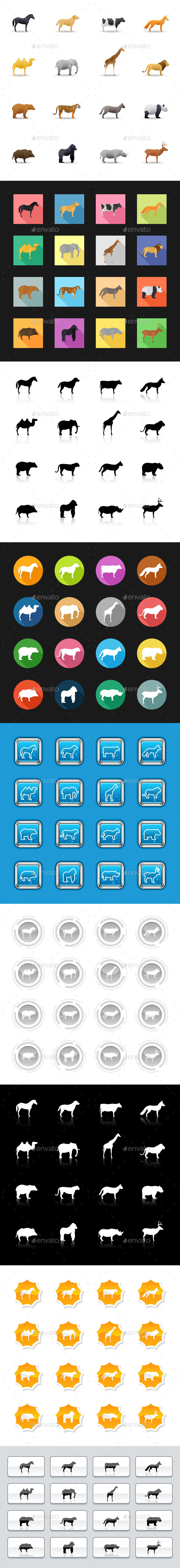 144 Icons on 9 Styles - Animals & Zoo - Animals Characters
