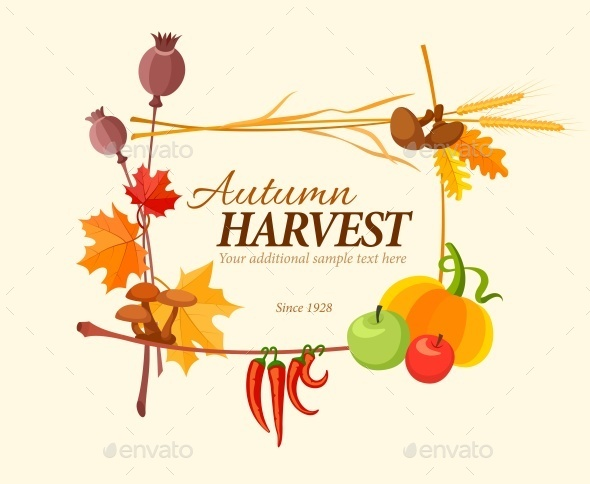 Autumn Harvest Frame For Thanksgiving Day - Man-made Objects Objects