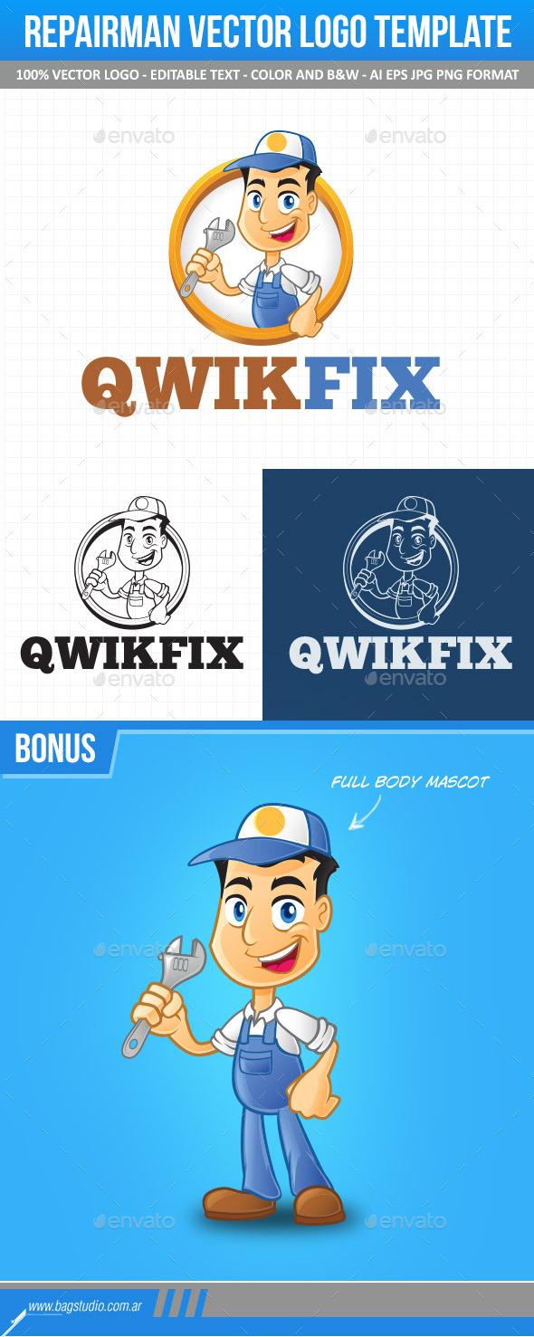 Repairman Vector Logo Template & Mascot - Humans Logo Templates