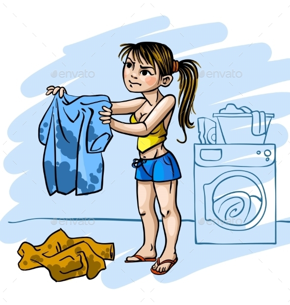 Woman Doing Laundry  - People Characters