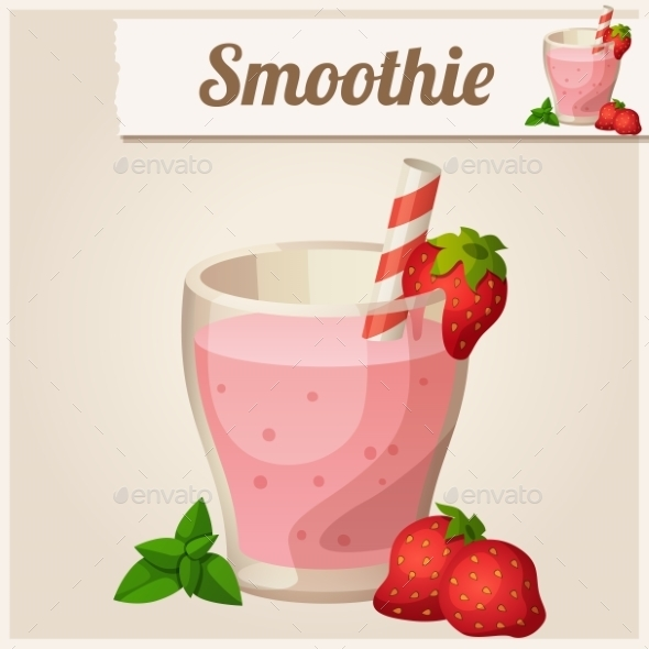 Detailed Icon. Strawberry Smoothie. - Food Objects