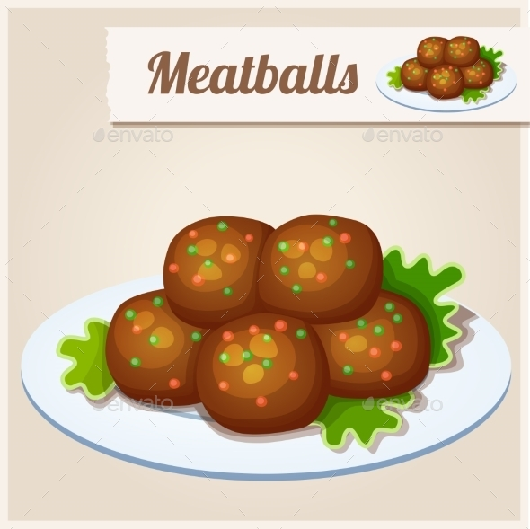 Detailed Icon. Meatballs. - Food Objects