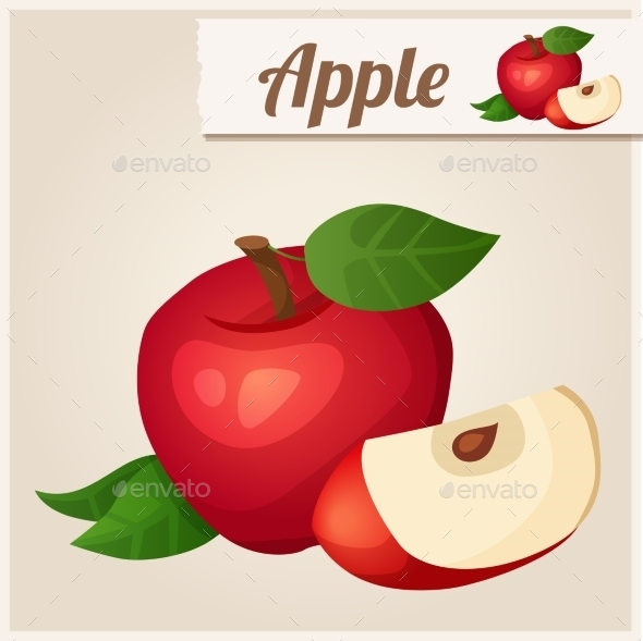Detailed Icon. Red Apple. - Food Objects