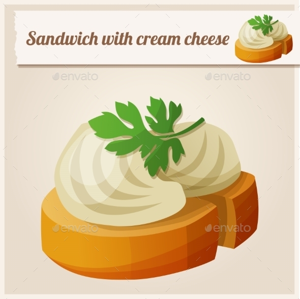 Detailed Icon. Sandwich with Cream Cheese. - Food Objects