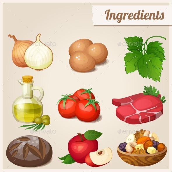 Set of Food Icons. Ingredients.  - Food Objects