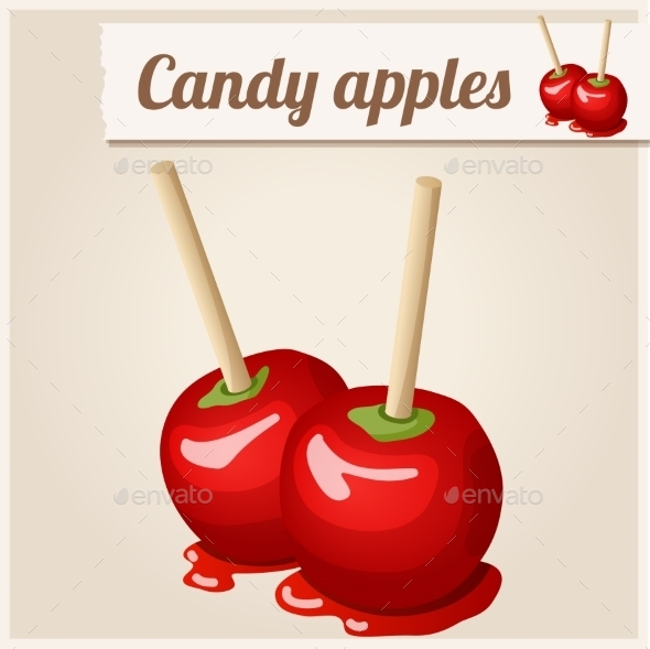 Detailed Icon. Candy Apples. - Food Objects