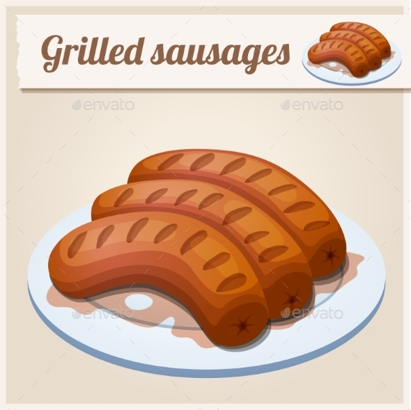 Grilled Sausages. Detailed Vector Icon - Food Objects