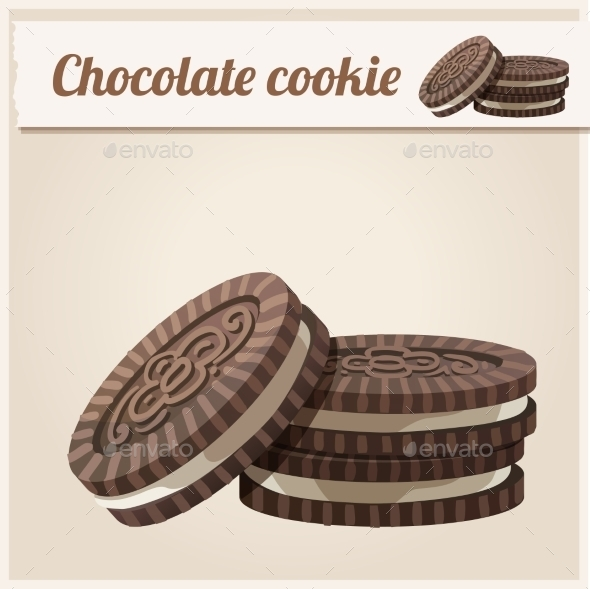 Chocolate Cookie. Detailed Vector Icon.  - Food Objects