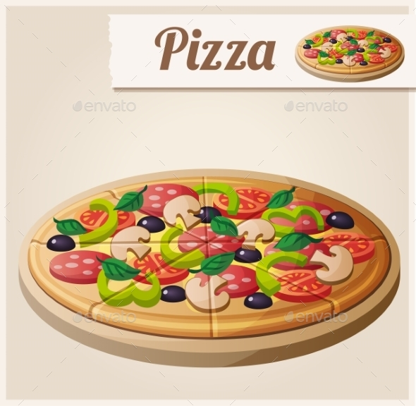 Pizza. Detailed Vector Icon - Food Objects