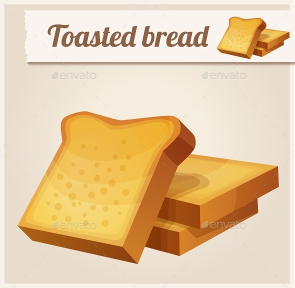 Toasted Bread. Detailed Vector Icon - Food Objects