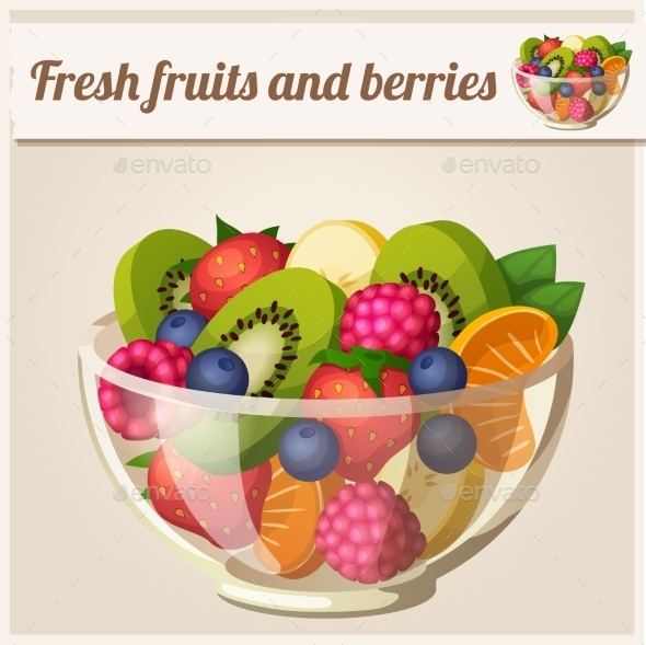 Fruit and Berries Bowl  - Food Objects
