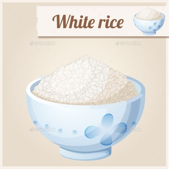 Bowl of White Rice. Detailed Vector Icon - Food Objects