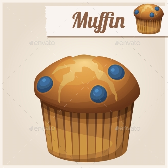 Muffin with Blueberry. Detailed Vector Icon. - Food Objects
