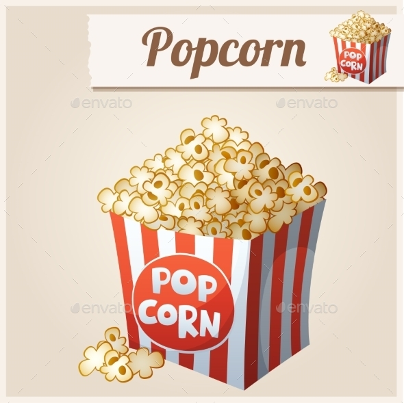 Popcorn Box. Detailed Vector Icon.  - Food Objects